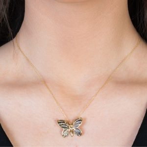 Yellow gold black diamond butterfly pendant