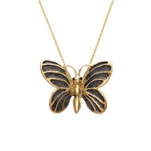 Black diamond butterfly pendant yellow gold