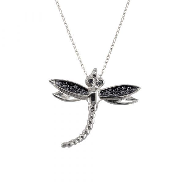 Silver black diamond dragonfly bug pendant