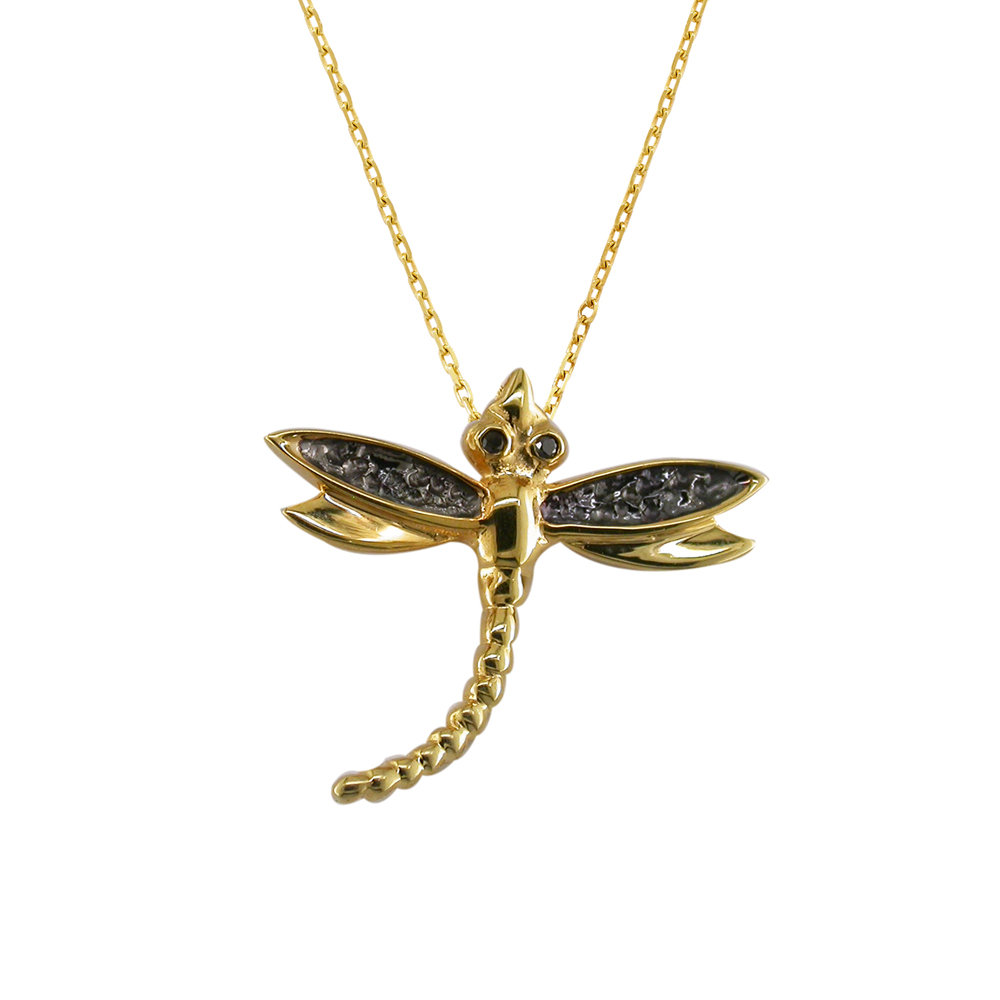 Black diamond dragonfly pendant yellow gold