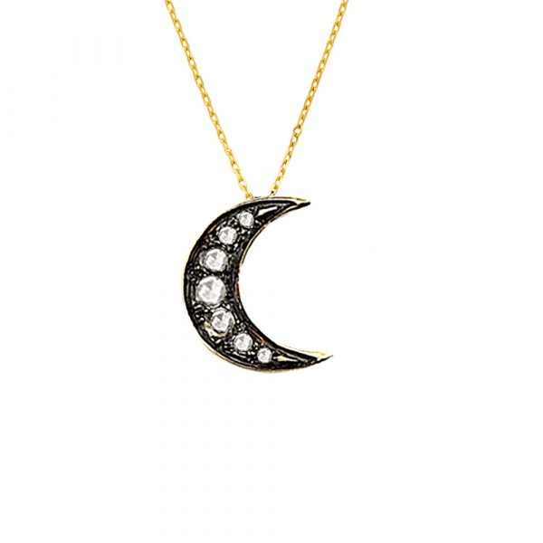 Diamond moon pendant yellow gold