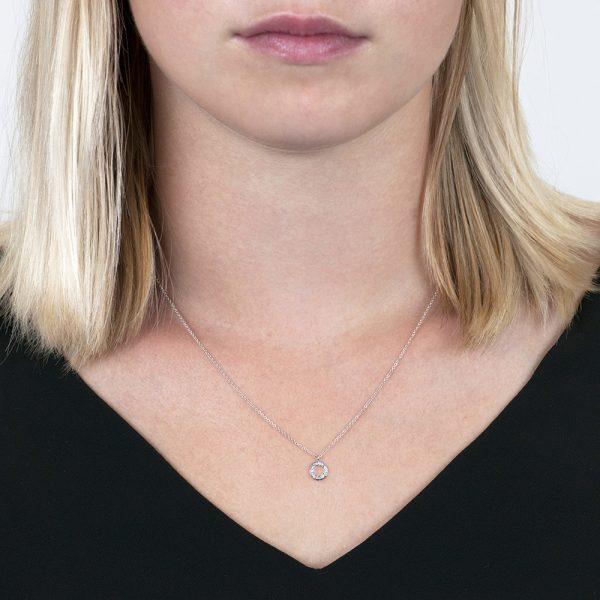White gold diamond circle Meridian pendant