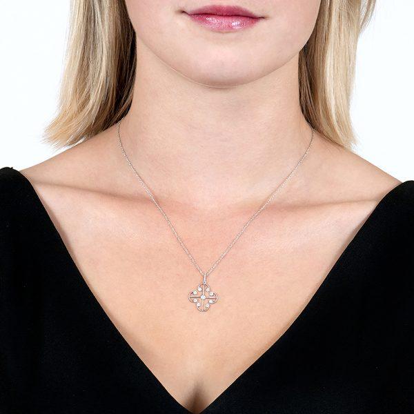 White Gold Brilliant Cut Diamond Lattice Pendant