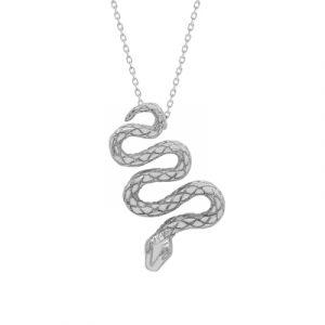 Serpent snake pendant silver