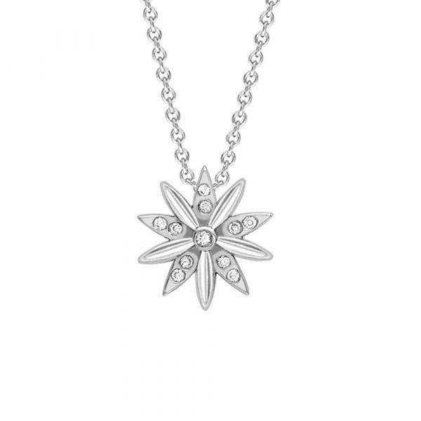 Diamond velvet leaf cluster pendant white gold