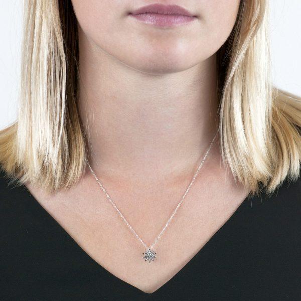 White gold diamond Velvet Leaf cluster pendant necklace