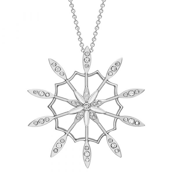 Diamond velvet leaf cluster pendant white gold