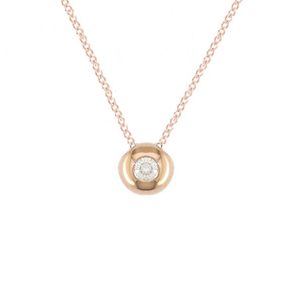 Rose gold diamond solitaire pendant necklace