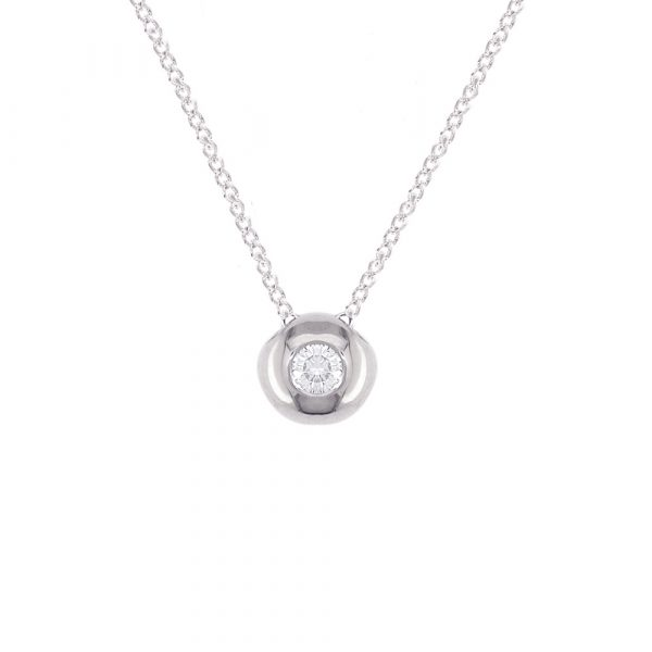 White gold diamond solitaire pendant necklace