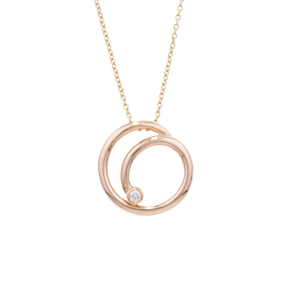 Diamond swirl pendant rose gold