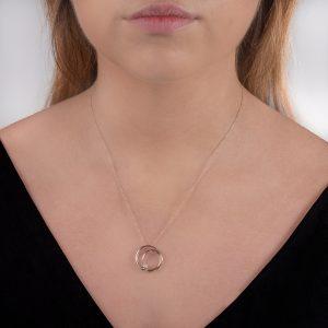 Rose gold diamond spiral pendant