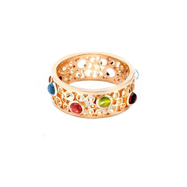 Rose gold handmade multi gem Bubble band ring