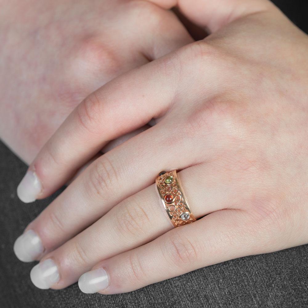 Handmade Rose Gold Bubble Multi Gem Ring - London Road Jewellery