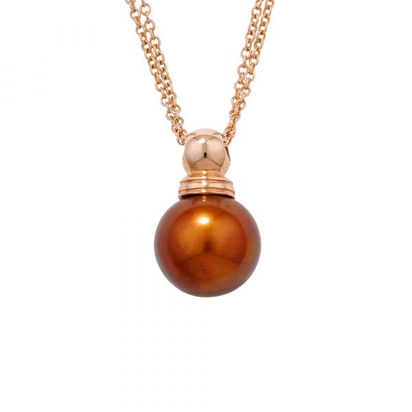 Bronze cultured freshwater pearl pendant rose gold