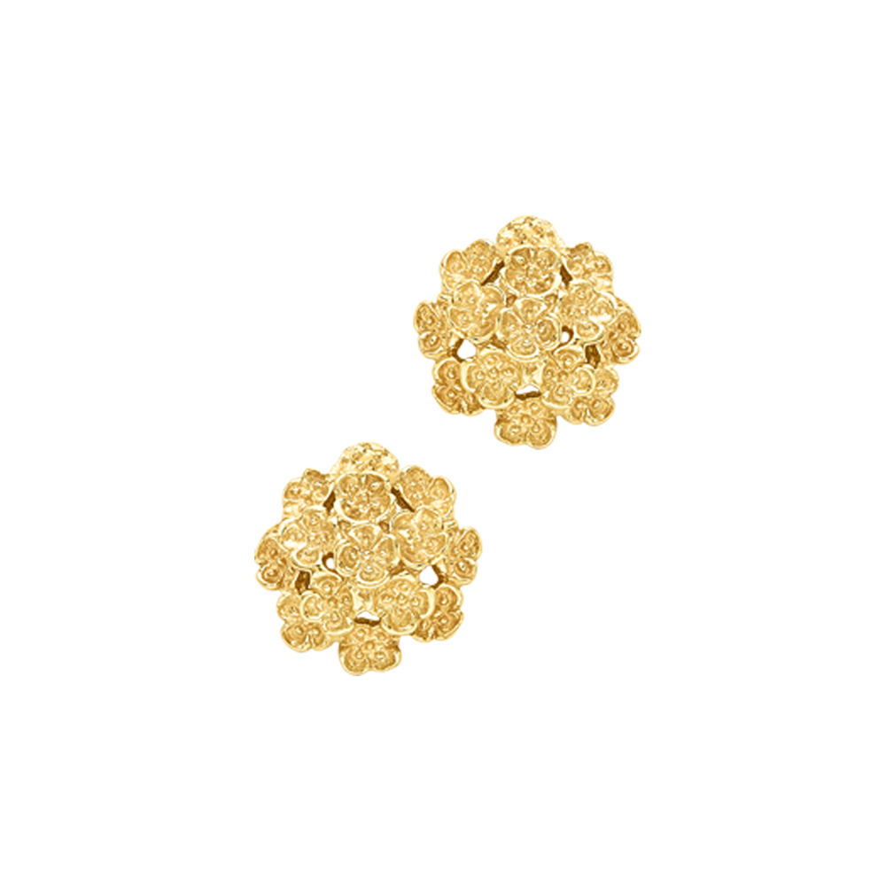 Yellow gold flower earrings