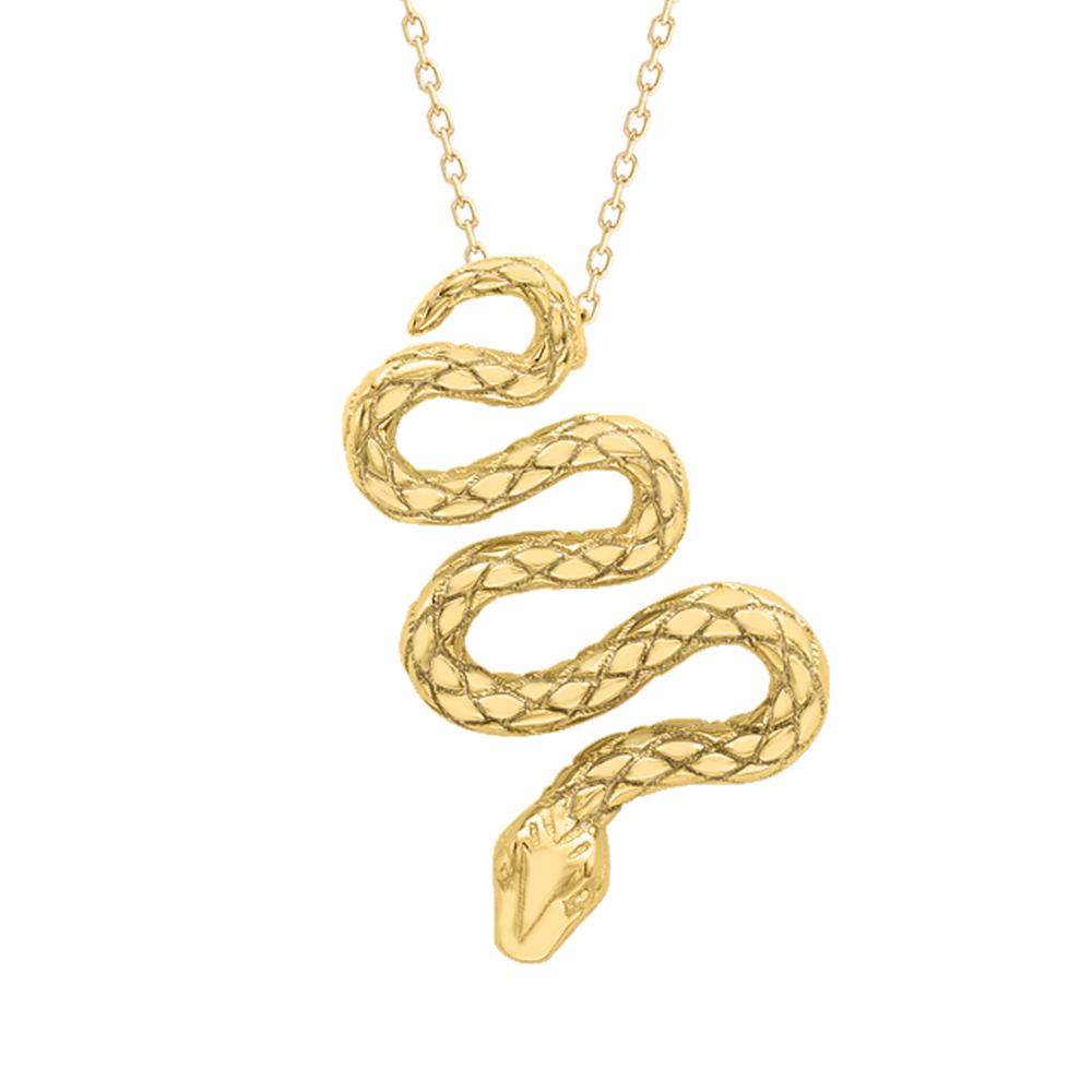 Stunning Yellow Gold Kew Snake Pendant