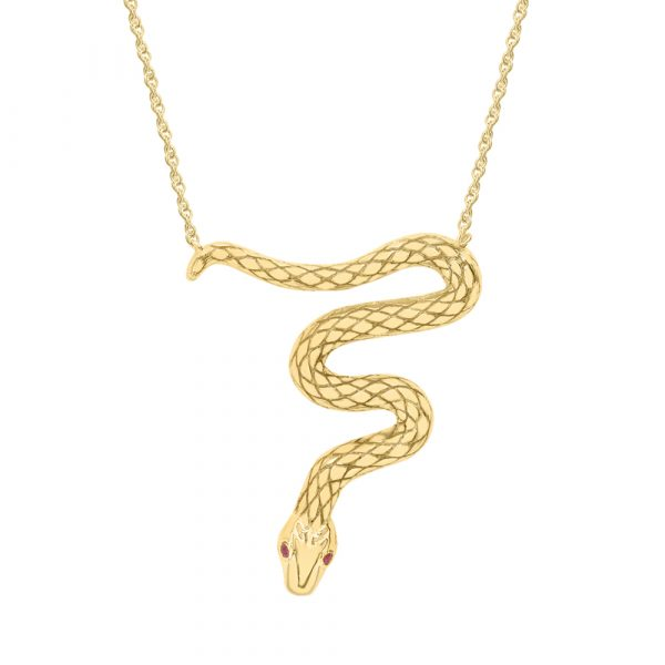 Ruby serpent snake pendant yellow gold