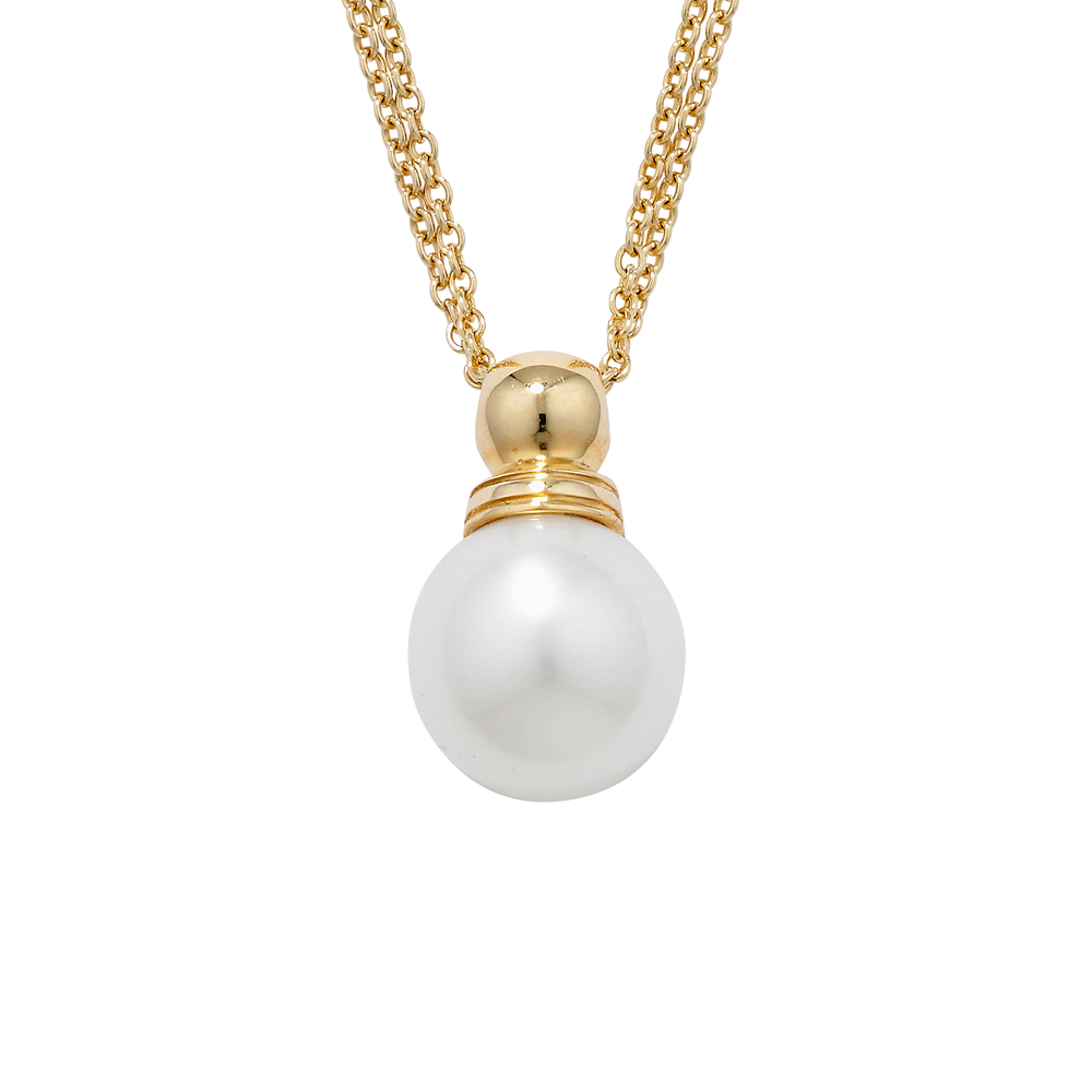 White cultured freshwater pearl pendant yellow gold