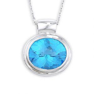 Blue topaz pendant white gold