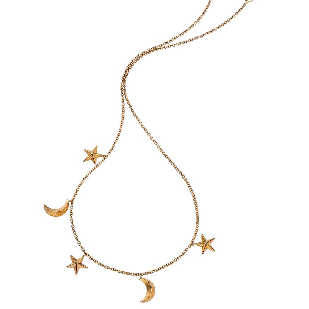 3d star and moon necklace rose gold