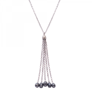 Black diamond drop pendant white gold