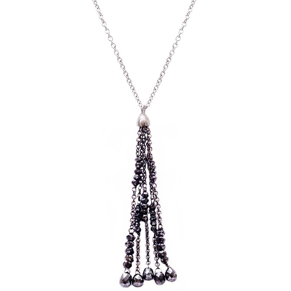 Black diamond drop pendant white gold