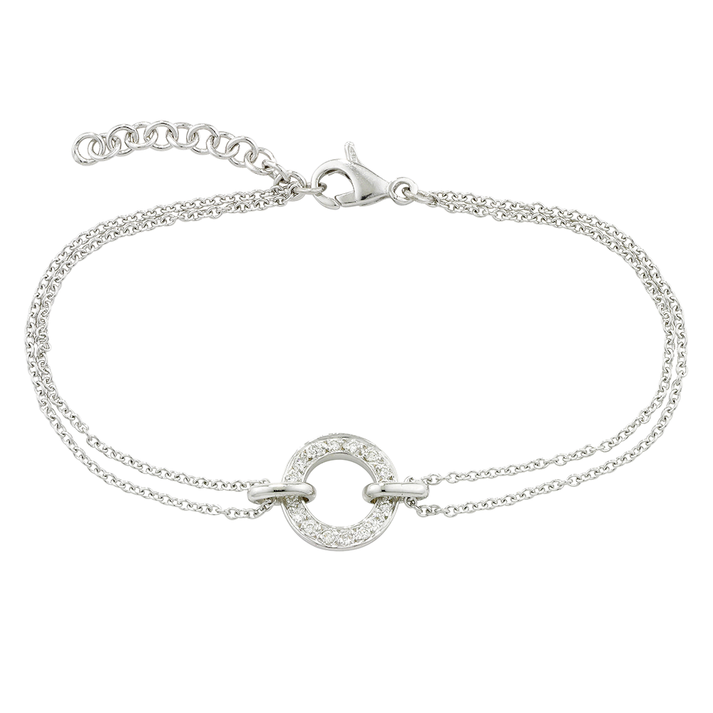 Diamond circle bracelet white gold