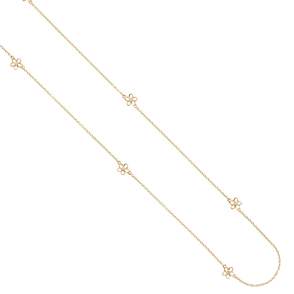 Diamond buttercup flower necklace yellow gold
