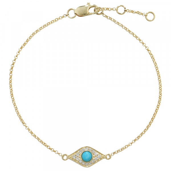 Diamond and turquoise evil eye bracelet yellow gold