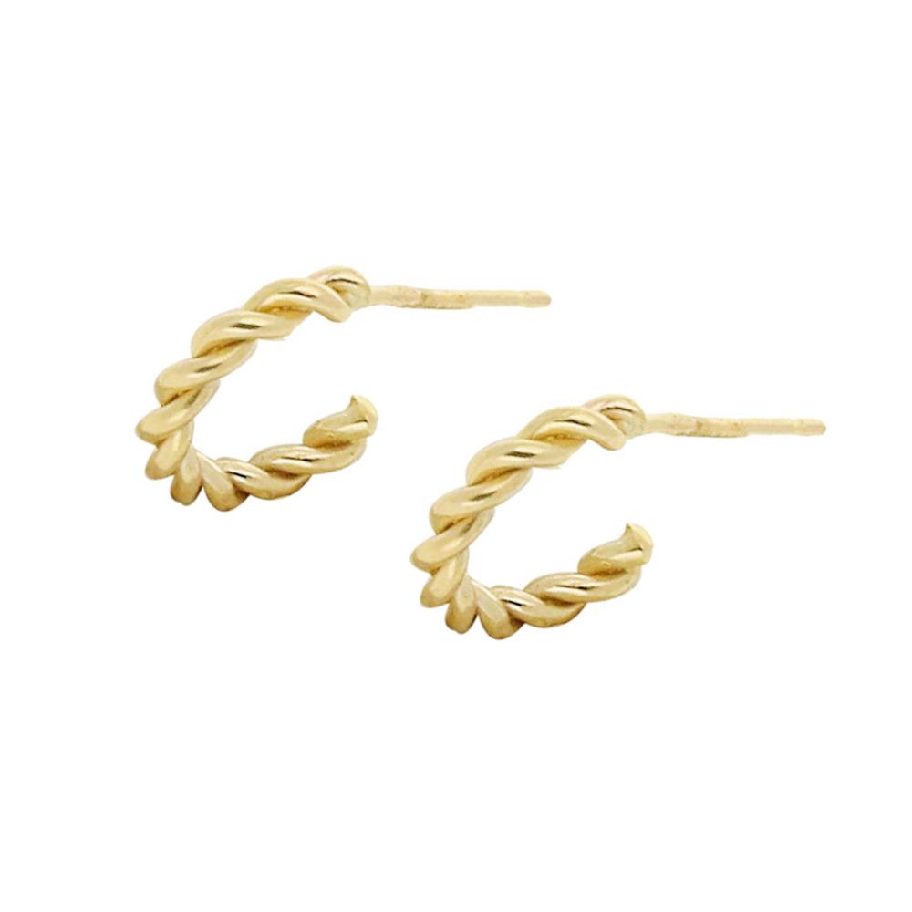 Yellow gold twist hoop earrings