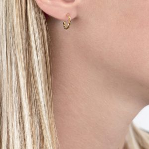Yellow gold Carnaby twist hoop earrings