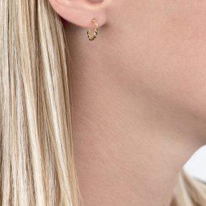 Yellow gold Carnaby twist hoop earrings