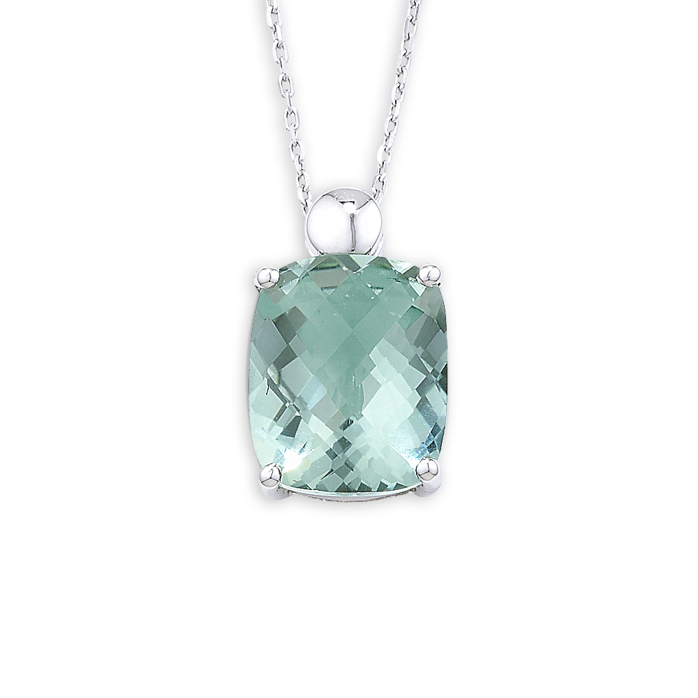 Exclusive white gold cushion green amethyst pendant necklace white gold green amethyst pendant aloadofball Image collections