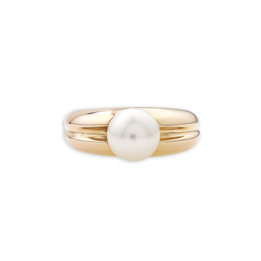 Cultured freshwater pearl ring rose gold