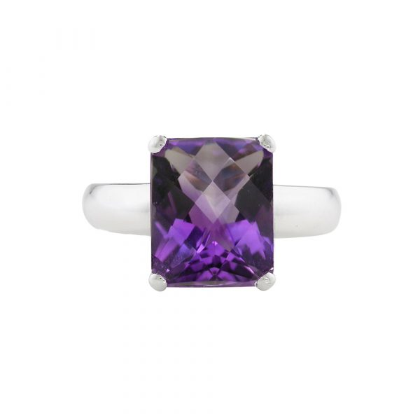 White gold amethyst cushion ring