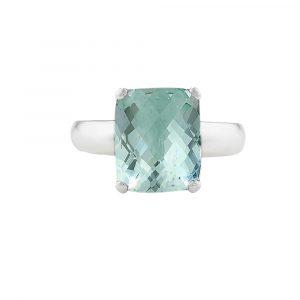 White gold green amethyst ring