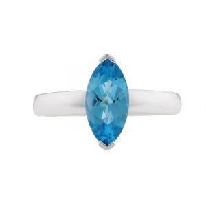 Blue topaz marquise ring white gold