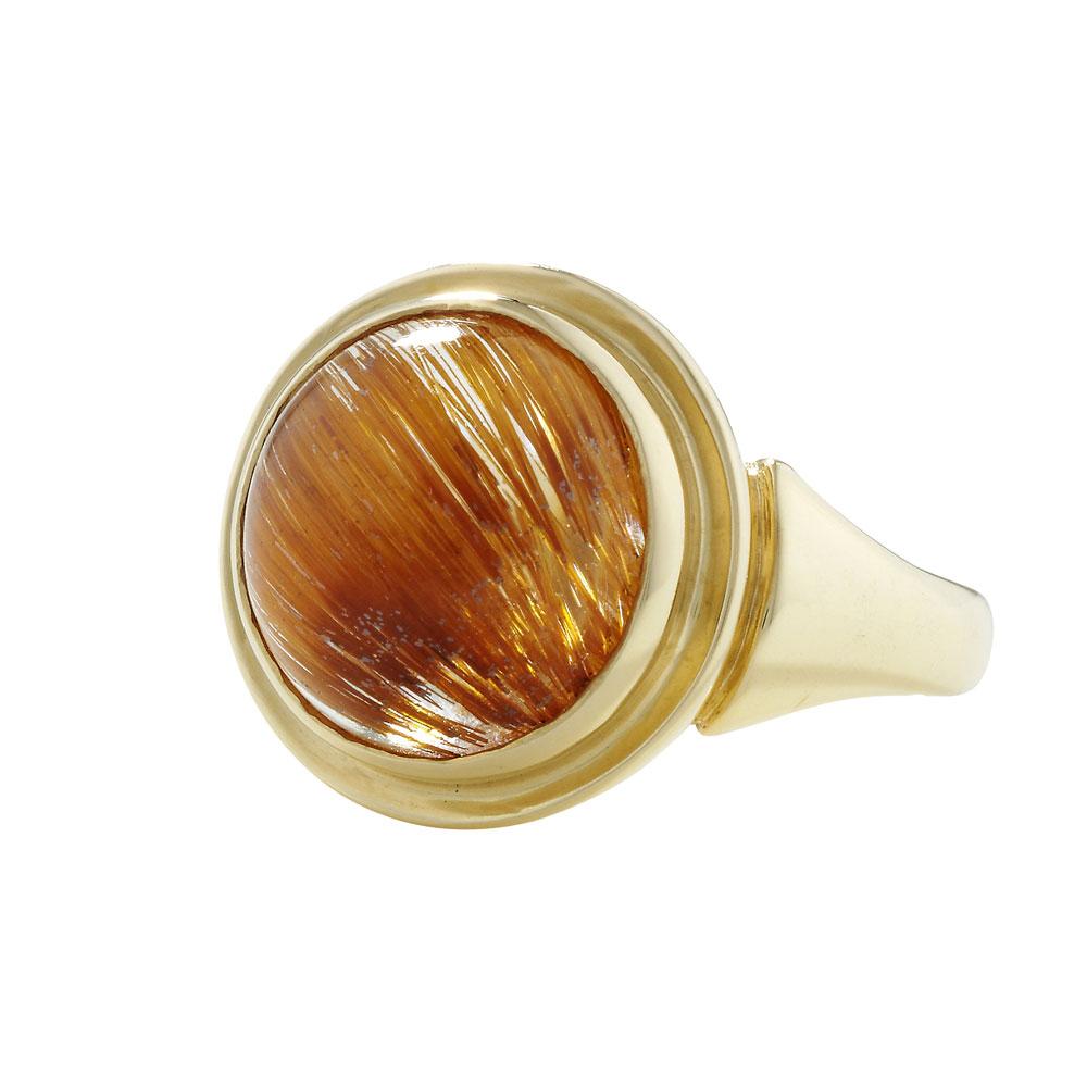 Rutilated quartz cocktail ring yellow gold