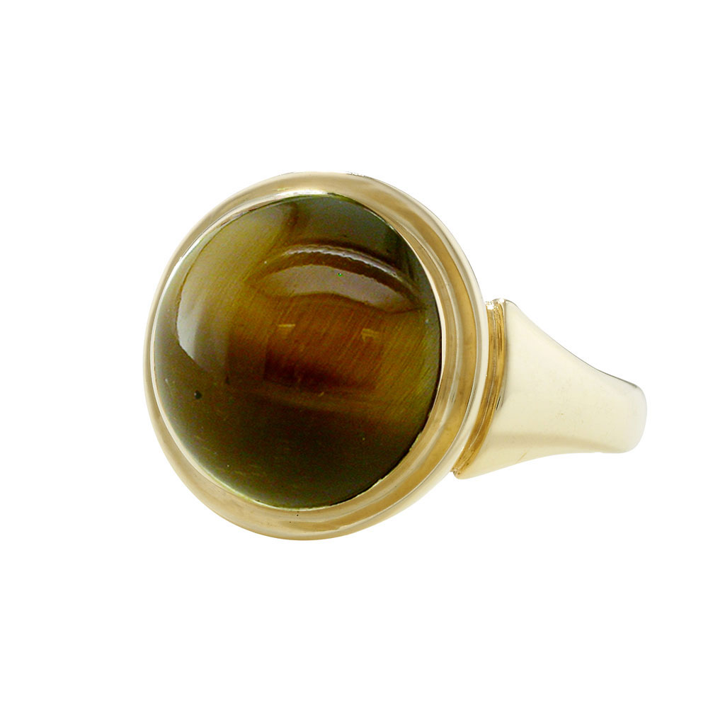 Tigers eye cocktail ring yellow gold
