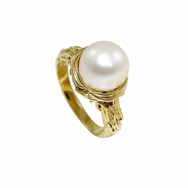 Yellow gold cultured freshwater pearl Willow ring