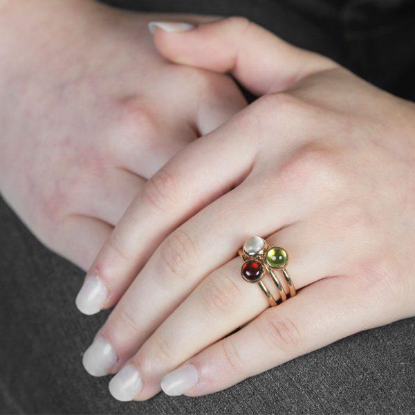 Rose gold peridot, garnet, moonstone stacking rings