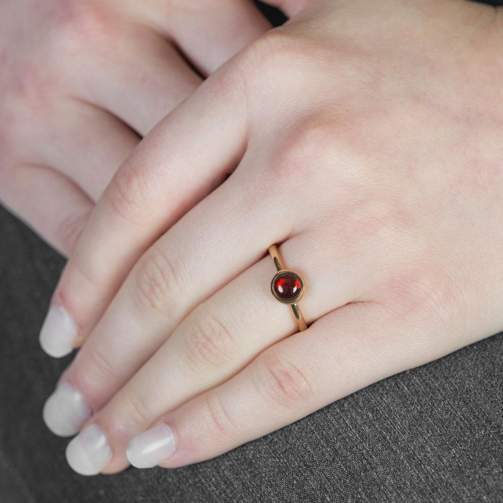Rose Gold Garnet Bubble Stacking Ring