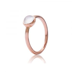 Moonstone bubble stack ring rose gold