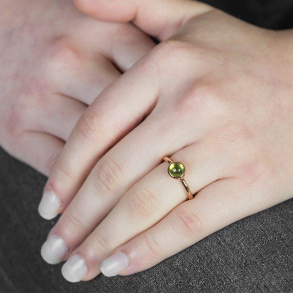 Rose Gold Peridot Bubble Stacking Ring