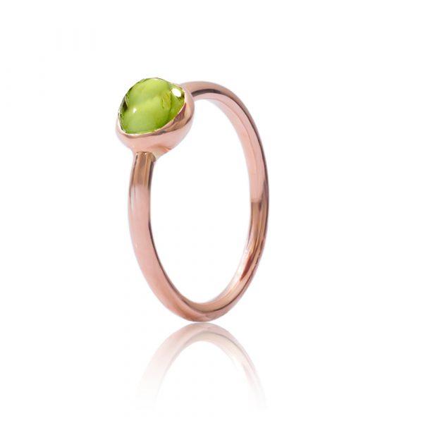 Peridot bubble stack ring rose gold
