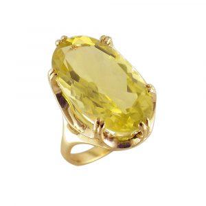 Lemon quartz cocktail ring yellow gold