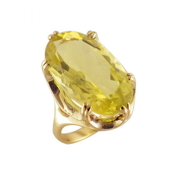 Lemon quartz cocktail ring yellow gold