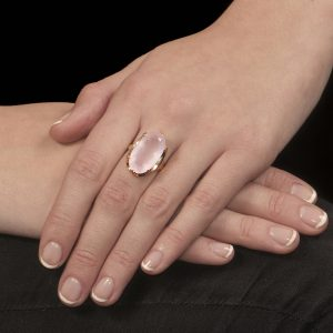 Yellow gold rose quartz Cocktail ring