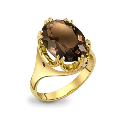Smoky quartz cocktail ring yellow gold