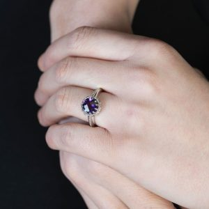 White Gold Chequer-cut Amethyst Coronation Ring